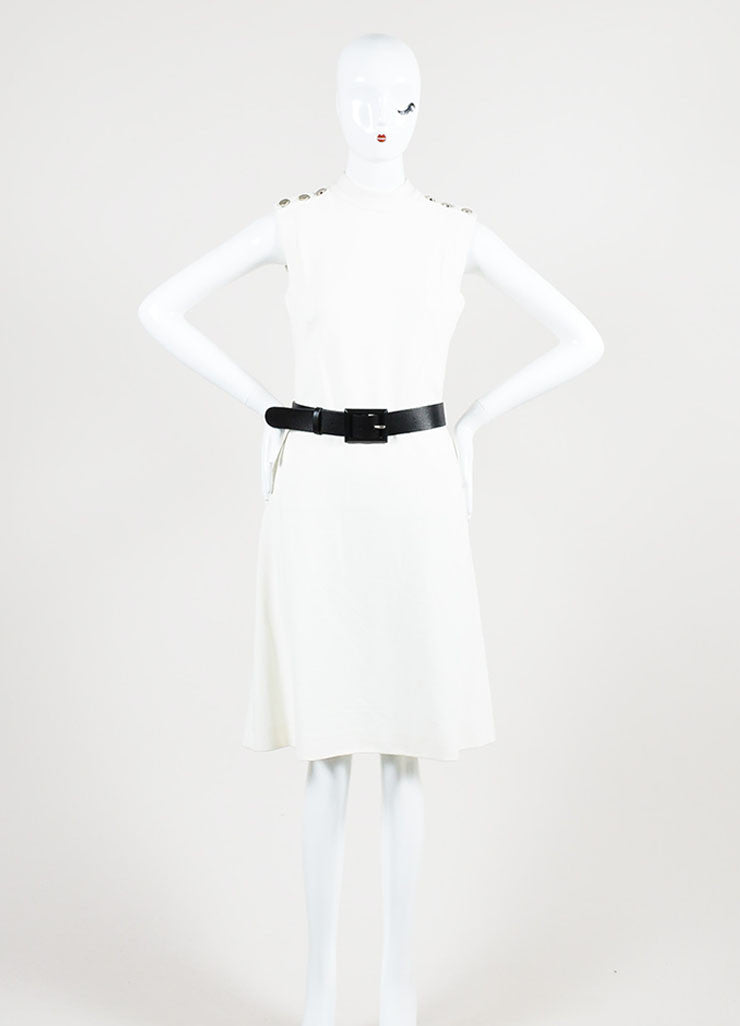 Gucci Cream Mockneck Belted Sleeveless Sheath Dress Frontview