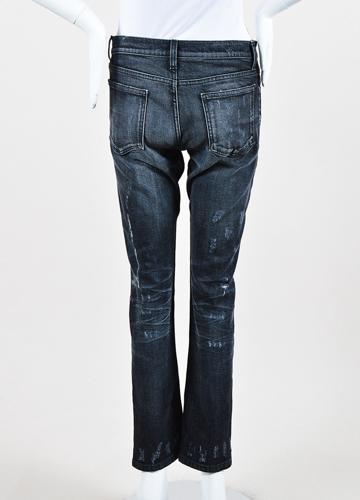 Gucci Dark Grey Denim Faded Distressed Straight Leg Regular Jeans Backview