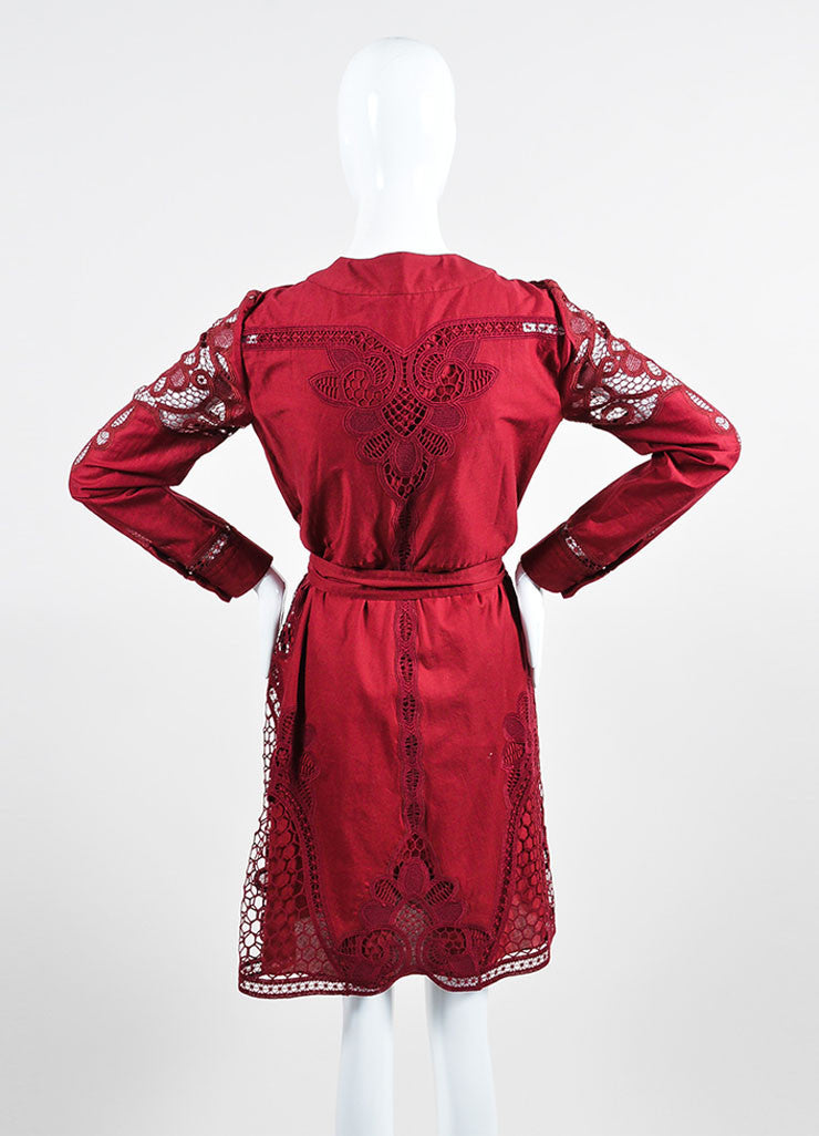 Cranberry Red Gucci Cotton Crocheted Lace Up Long Sleeve Dress Backview