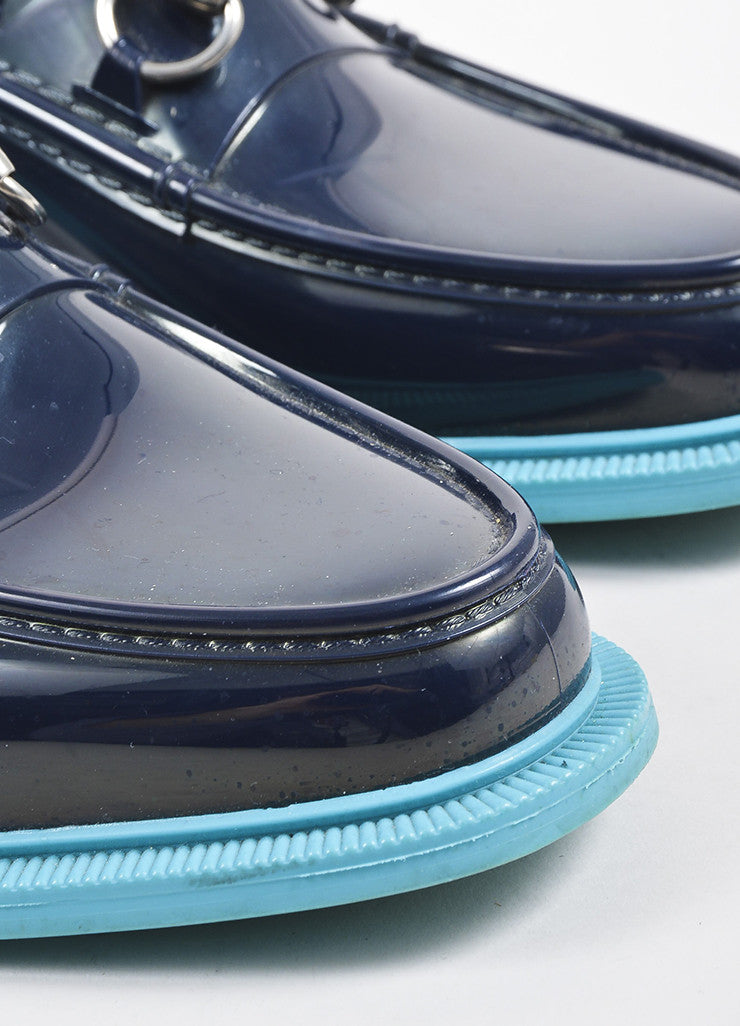 Navy and Teal Two Tone Gucci Horsebit Rubber Loafers Detail