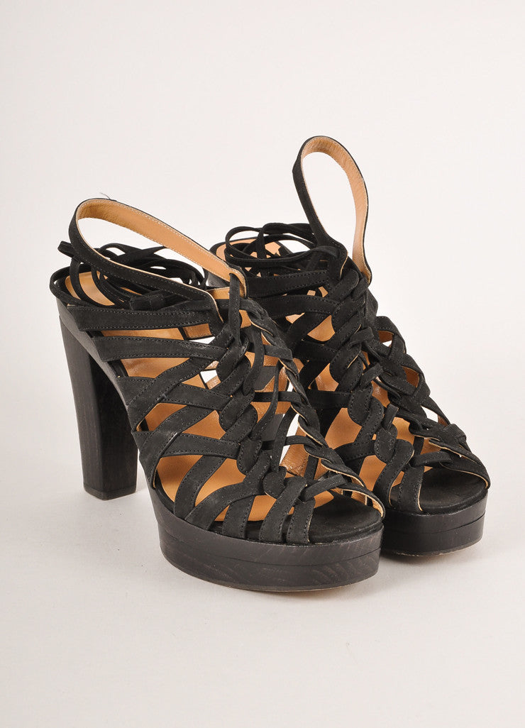 Hermes Black Strappy Woven Lace-Up Leather Platform Heeled Sandals Frontview