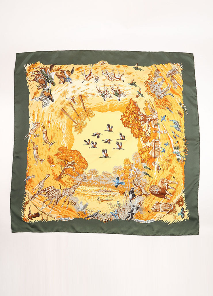 "Hermes Multicolor Silk Animal Print ""Africa"" Scarf Frontview"