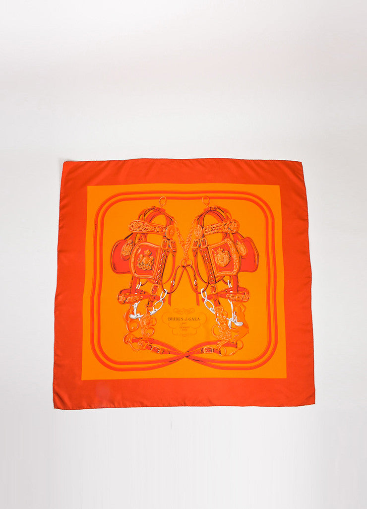 "Red and Orange Hermes Silk ""Brides De Gala"" Equestrian Print Square 90cm Scarf Frontview 2"