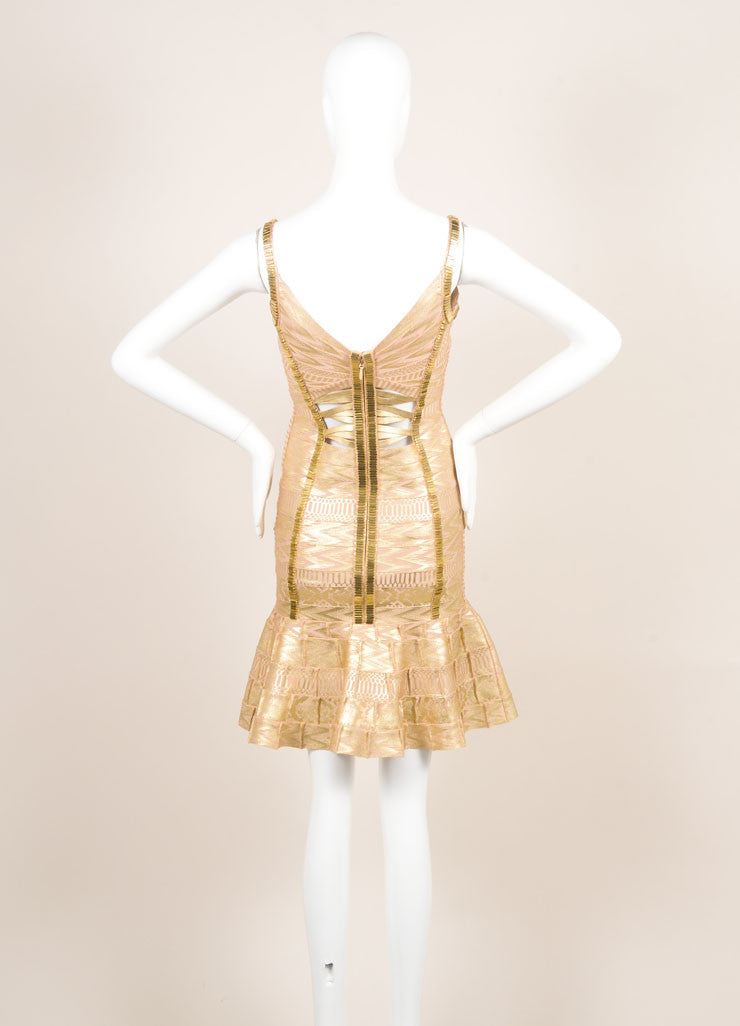 Herve Leger Gold Metallic Printed Beaded Cut Out Bodycon Dress Backview