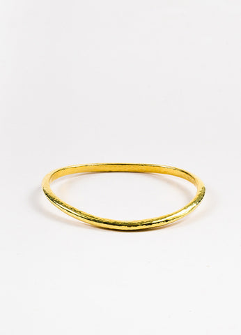 "Ippolita 18K Yellow Gold Hammered ""Glamazon"" Curved Bangle Bracelet"