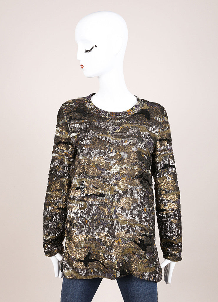 "Isabel Marant New With Tags Green and Blue Printed Silk Sequin ""Woodland"" Tunic Top Frontview"