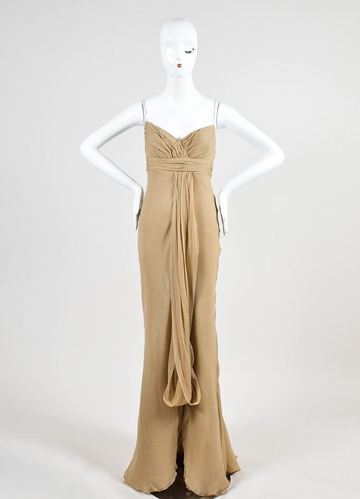 Mocha Tan J. Mendel Silk Chiffon Pleated Sleeveless Floor Length Gown Frontview