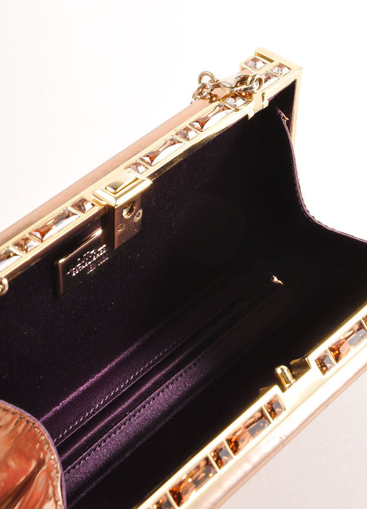 Judith Leiber Rose Gold Jewel Trim Rectangular Clutch Bag Interior