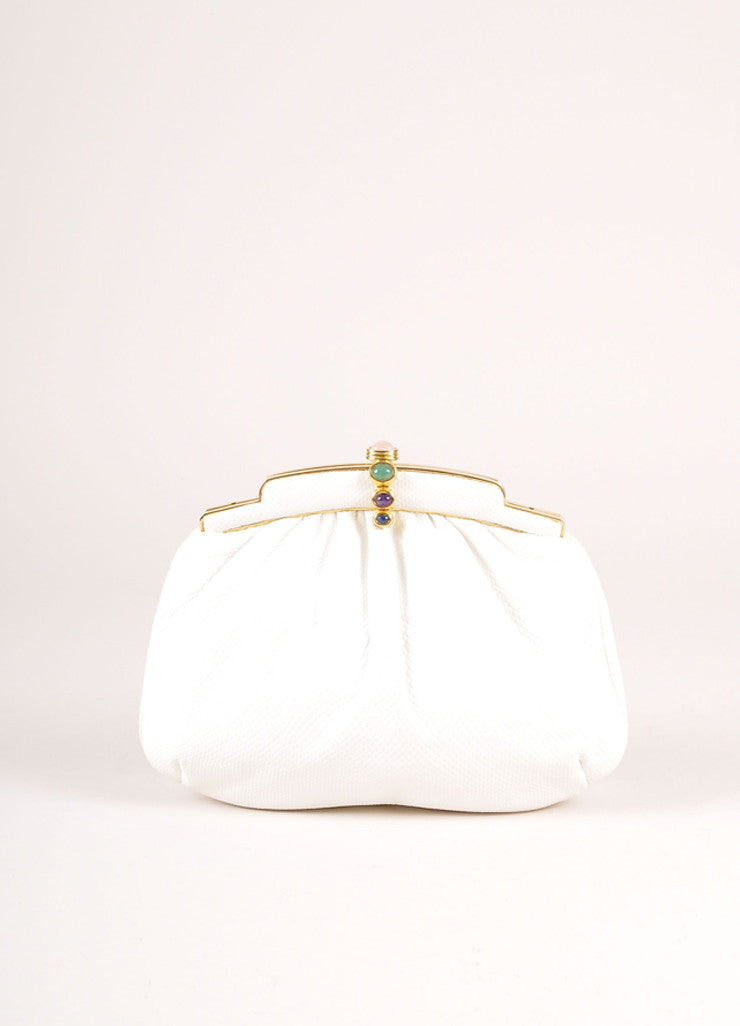 Judith Leiber White and Gold Tone Cabochon Latch Reptile Leather Convertible Clutch Bag Frontview
