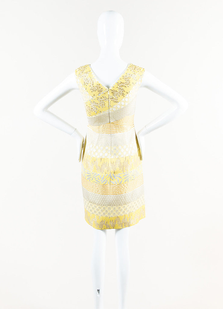 Kay Unger Yellow, Silver, and Gold Metallic Brocade Sleeveless Sheath Dress Backview