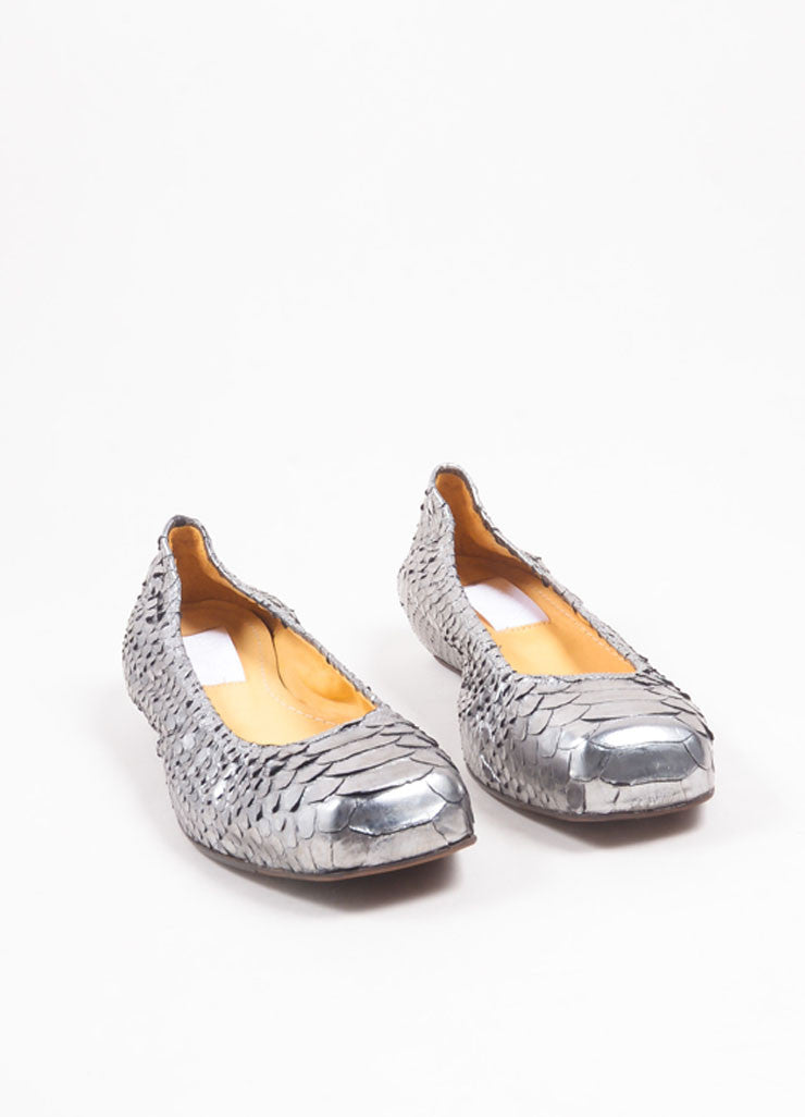 Lanvin Silver Python Leather Metallic Padded Ballerina Flats Frontview