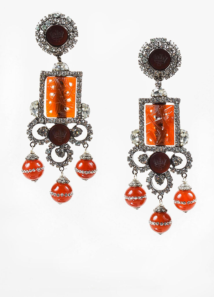 Lawrence Vrba Silver Toned and Red Carved Resin Crystal Chadelier Clip On Earrings Frontview