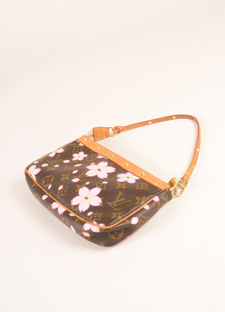 Louis Vuitton Brown and Pink Cherry Blossom Monogram Canvas Bow and Stud Pochette Bag Sideview