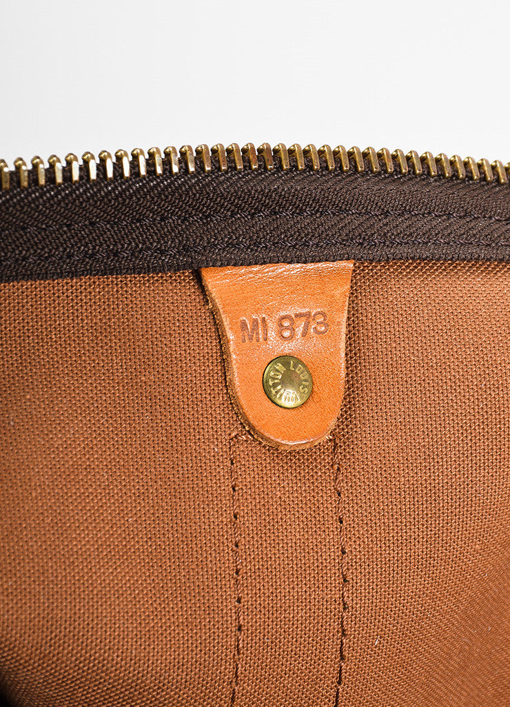 "Louis Vuitton Brown and Tan Monogram Leather ""Keepall 60"" Bag Date Code"