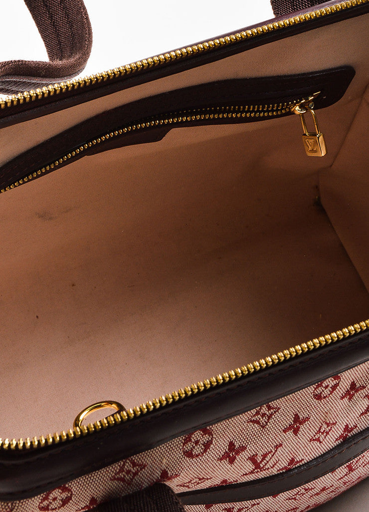 "Louis Vuitton Deep Pink and Brown Monogram Mini Lin ""Josephine PM"" Satchel Bag Interior"