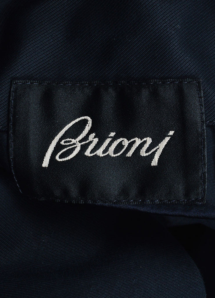 Men's Brioni Black and Navy Twill Wool Leather Reversible Belted Trench Coat Brand