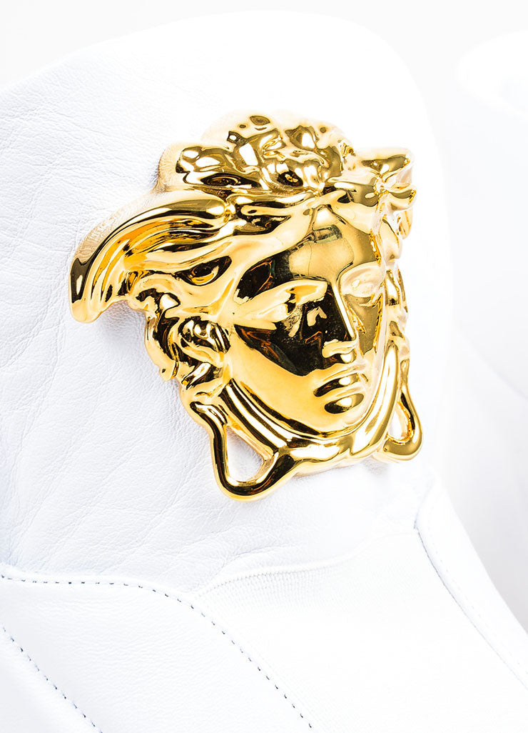 "MEN'S Versace White Leather Gold Tone Medusa ""Palazzo Idol"" Sneakers Detail"