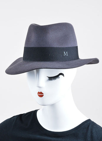 "Maison Michel Grey Felt Black Band ""Andre"" Wide Brim Hat Sideview"