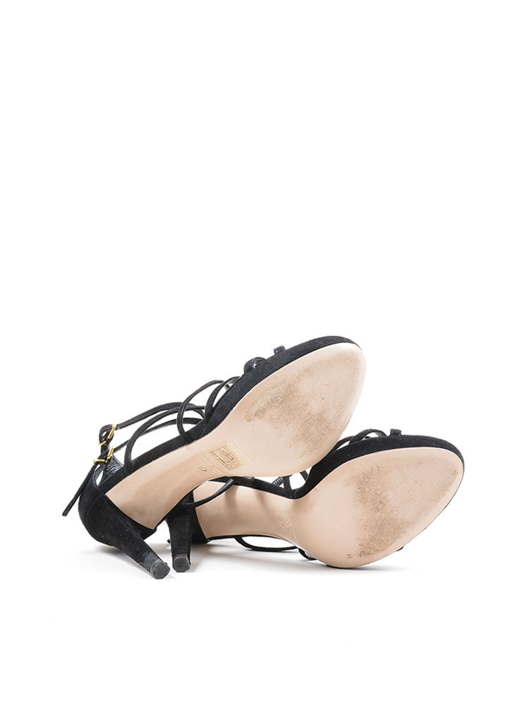 Black Miu Miu Suede Leather Strappy Heeled Sandals Outsoles