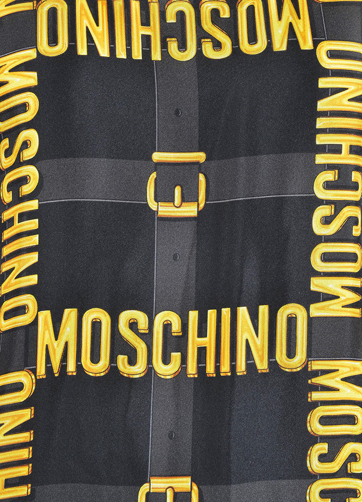 Black and Yellow Moschino Couture Wool and Silk Logo Belt Sweater Vest Detail