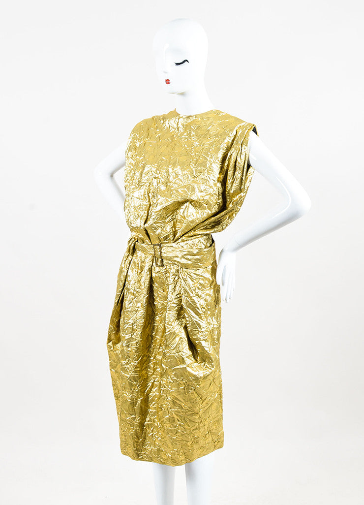 Ms Min Metallic Gold Silk Blend Polka Dot Crinkled Sleeveless Belted Dress Sideview