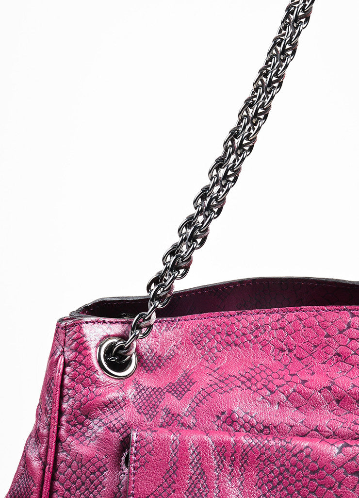 "Mulberry ""English Plum"" Leather Snake Embossed Chain Strap ""Cory"" Tote Bag Detail 2"