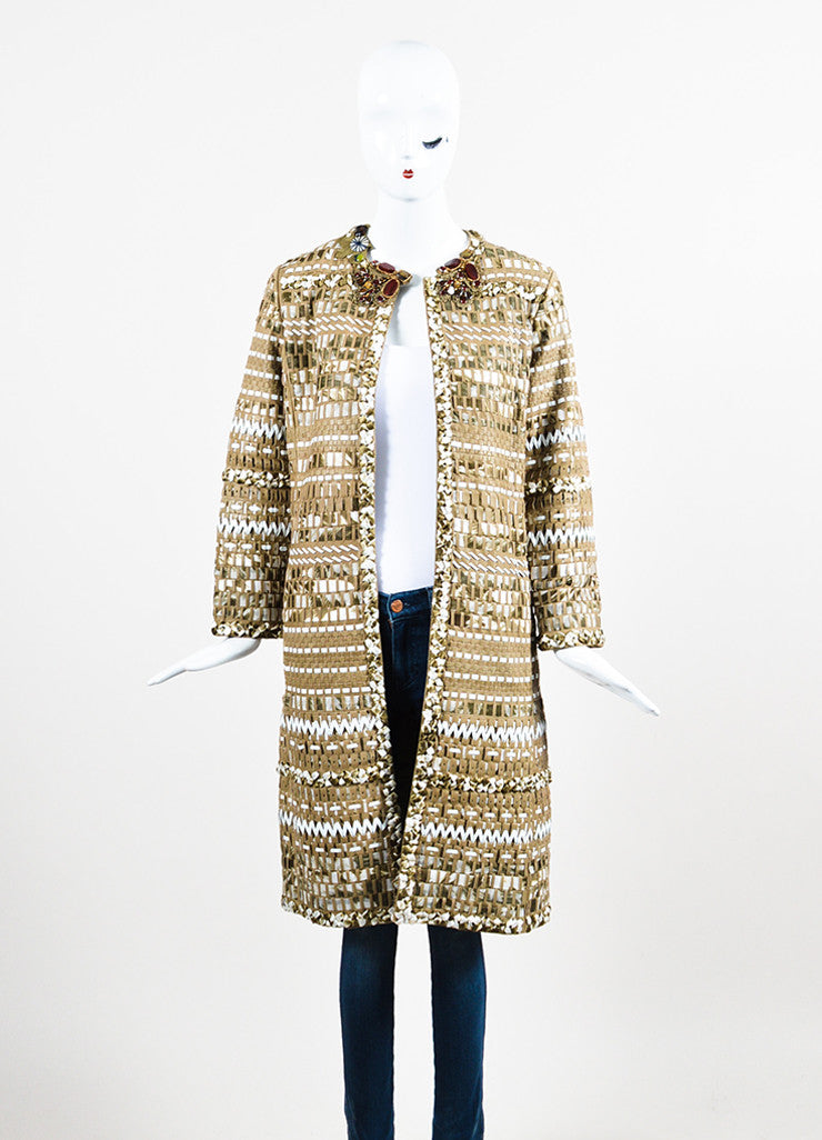 Oscar de la Renta Taupe Woven Leather Ribbon Embellished Long Coat