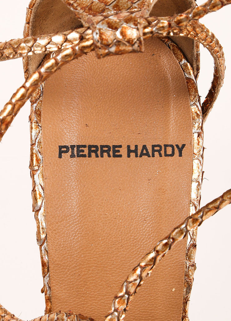 Pierre Hardy Copper and Silver Metallic Python Wedge Sandals Brand