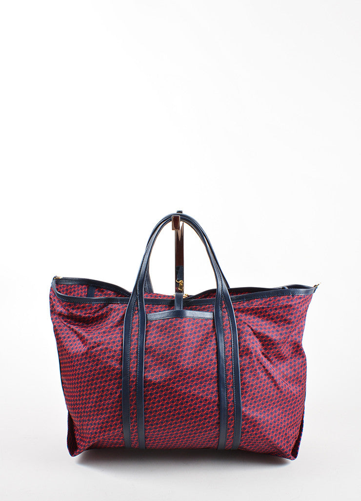 Pierre Hardy Red and Navy Nylon and Leather Cube Print Weekended Tote Bag Frontview