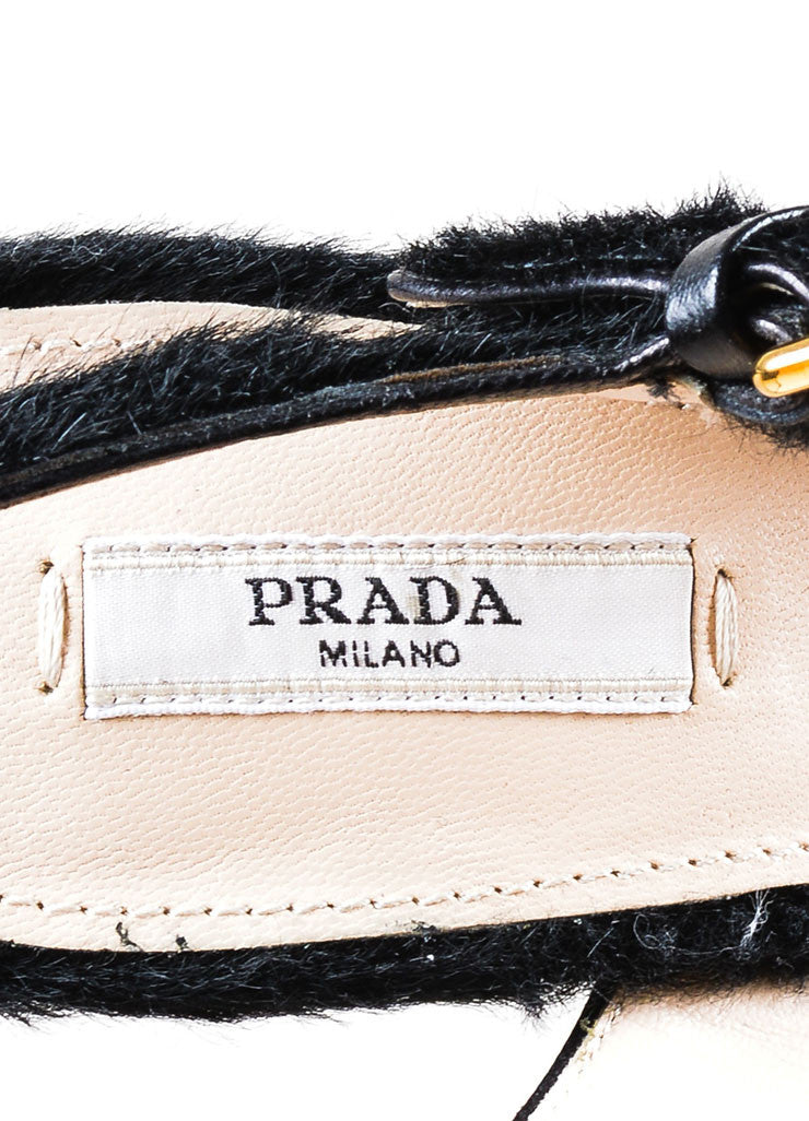 Black Prada Pony Hair Platform Heeled Ankle Strap Peep Toe Sandals Brand