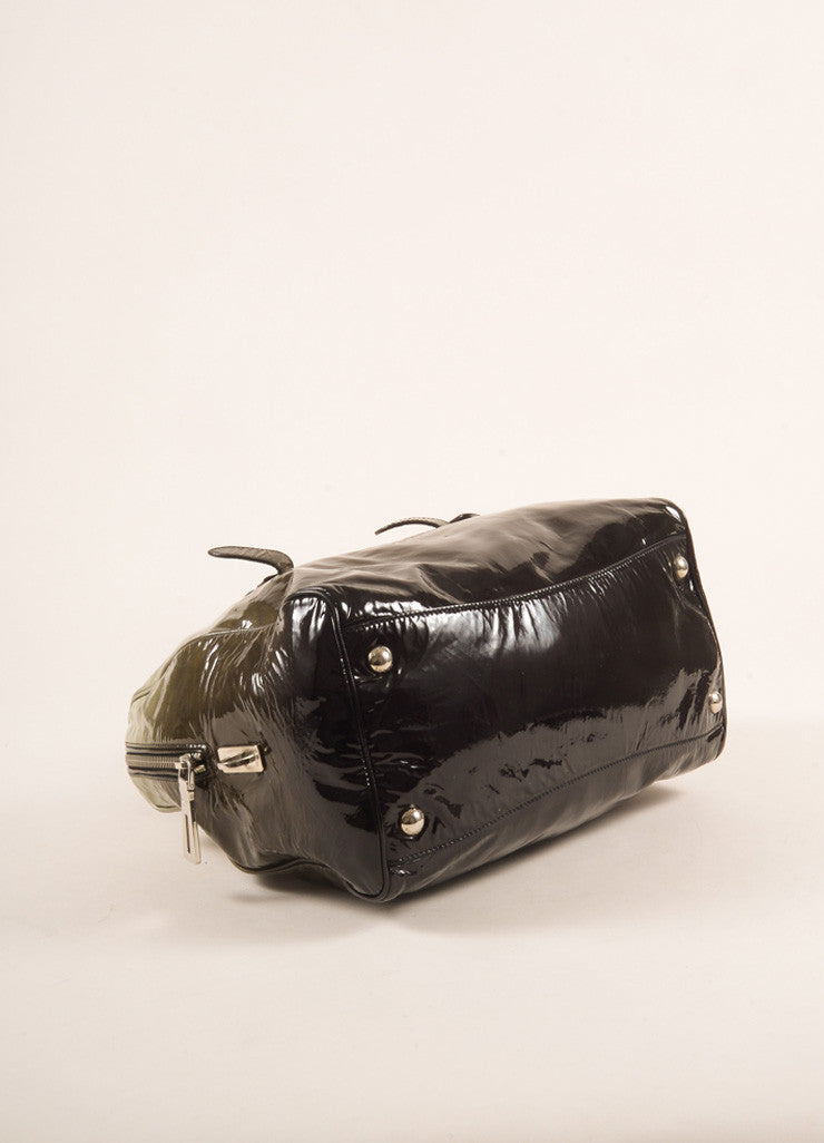 Prada Dark Green and Black Ombre Patent Leather Satchel Bag Bottom View