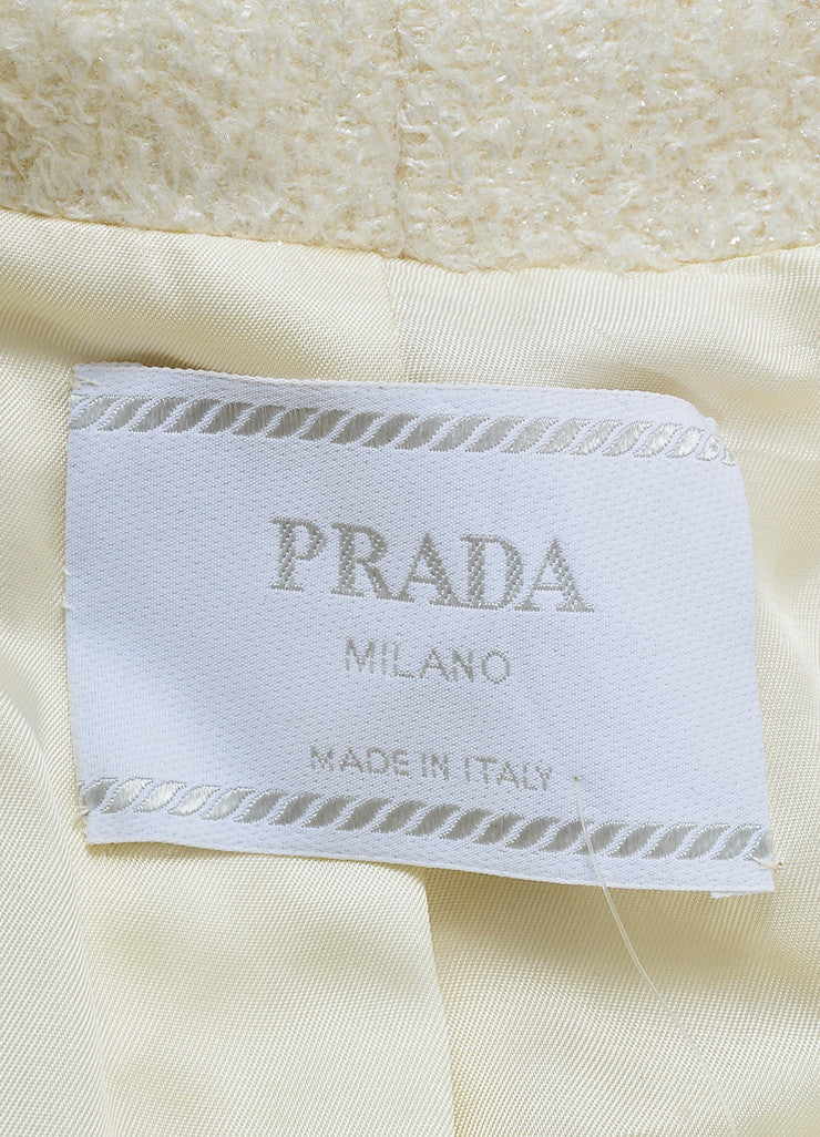 Cream Prada Metallic Woolen Long Sleeve Coat Brand