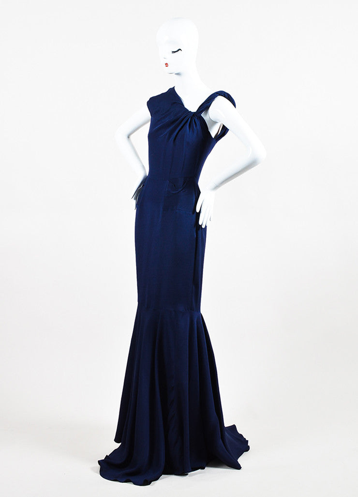RM By Roland Mouret Navy Asymmetrical Knot Sleeveless Trumpet Dress Gown Sideview