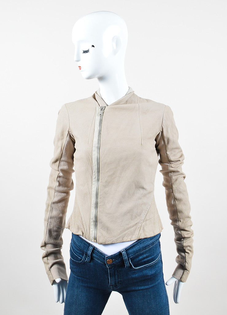 Rick Owens Beige Leather Ribbed Knit Asymmetrical Zip Jacket Frontview 2