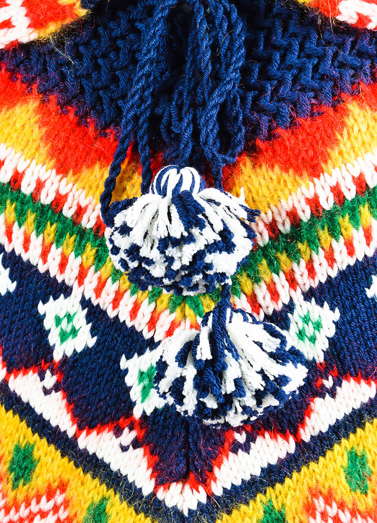 "Multicolor Saint Laurent Wool and Mohair ""Far Isle"" Poncho Detail"
