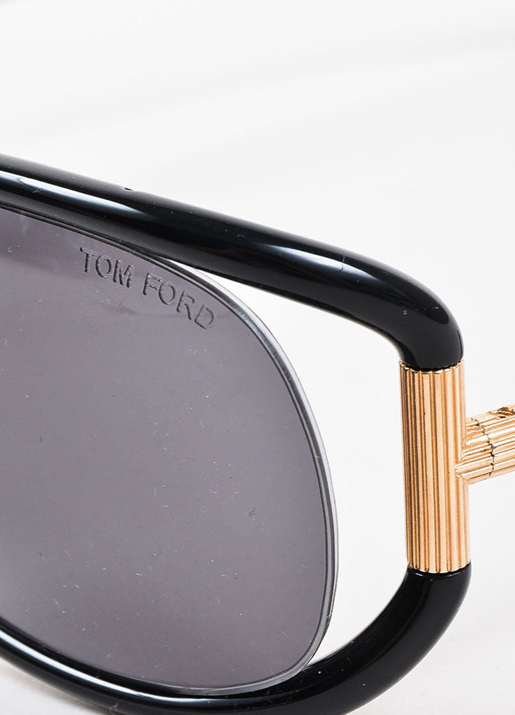 "Tom Ford Black Plastic and Gold Toned Metal Oversized ""Genevieve"" TF77 Sunglasses Detail"