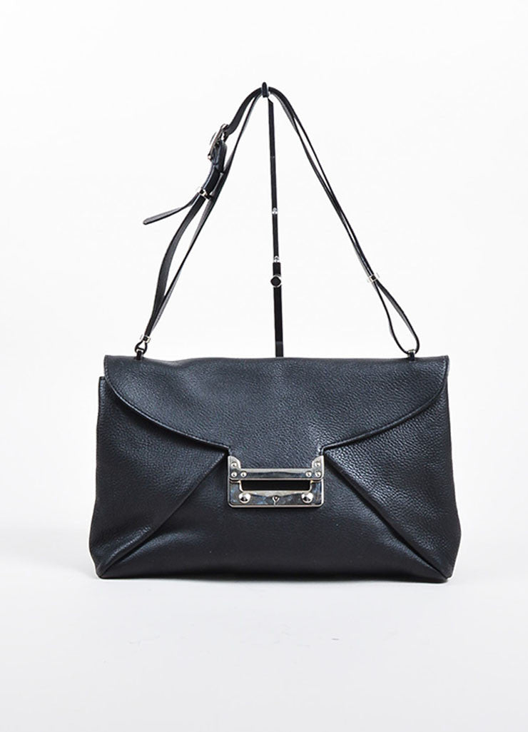 "VBH Black Leather ""Prive"" Envelope Shoulder Bag Frontview"