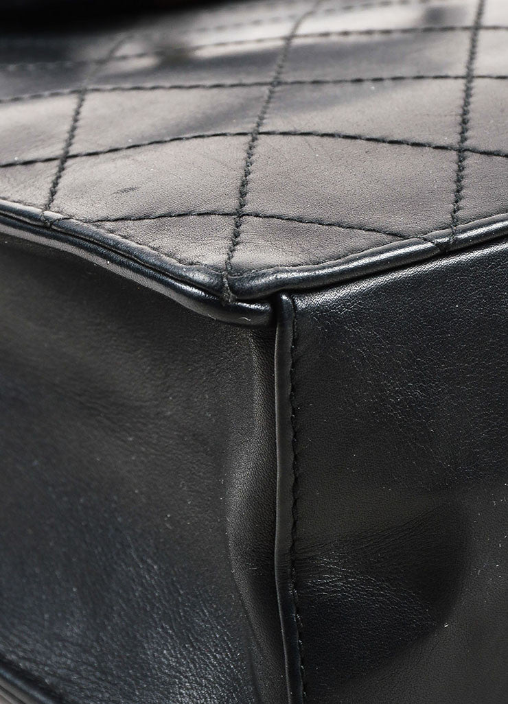 Chanel Black Leather Quilted Structured Tote Bag Detail