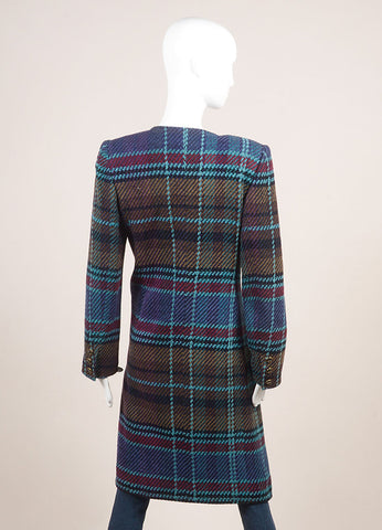 Emanuel Ungaro Blue, Black, and Multicolor Woven Plaid Long Sleeve Coat Backview
