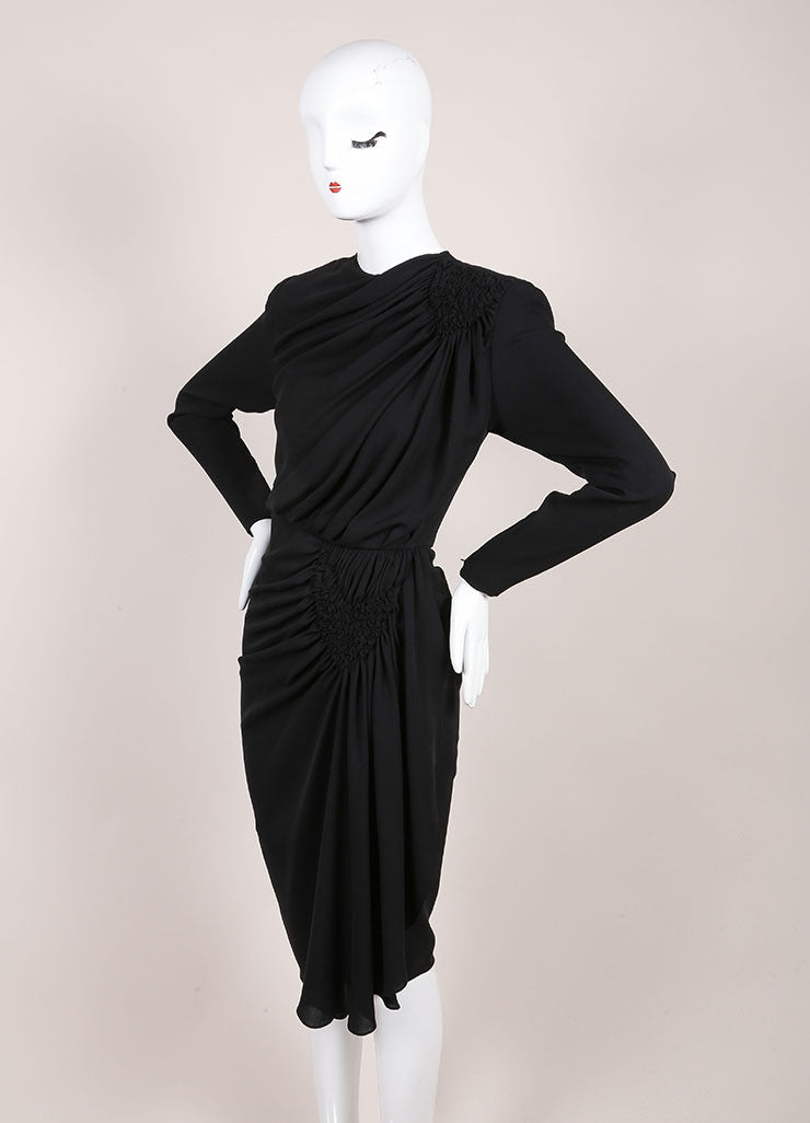 Galanos Black Draped Ruched Long Sleeve Dress Sideview