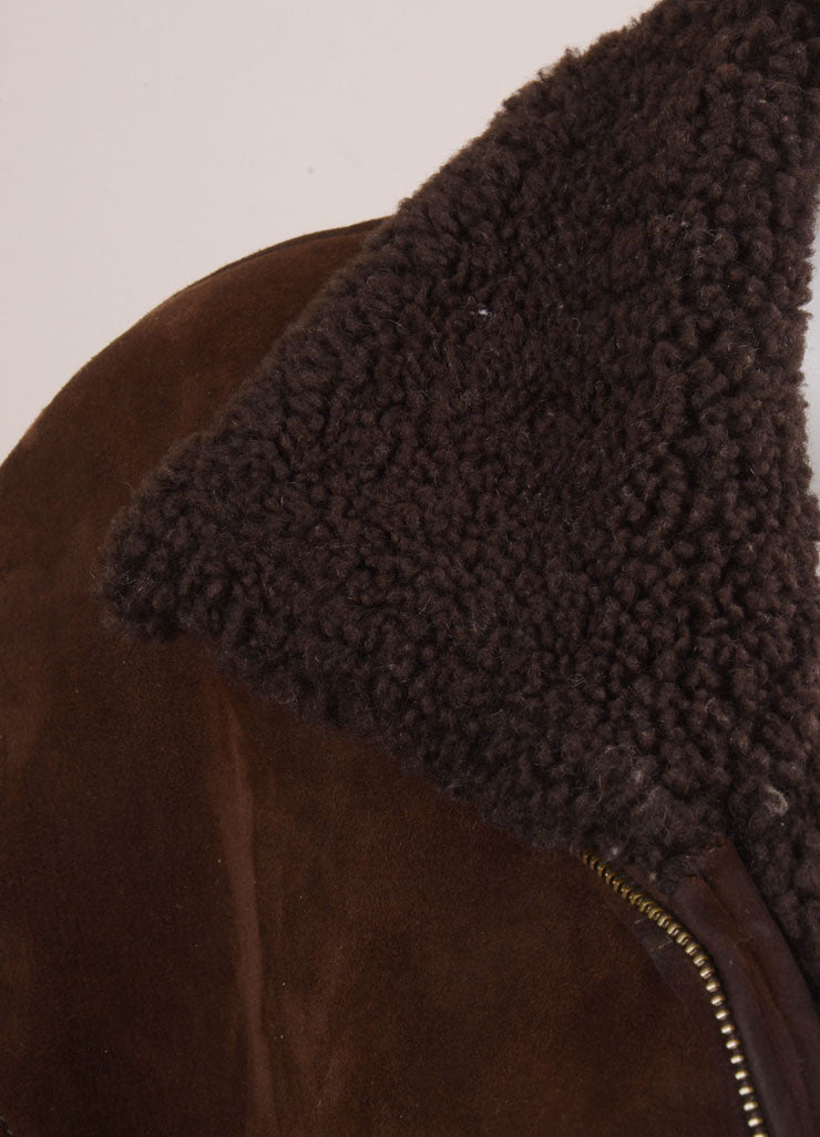 Hermes Brown Suede Shearling Long Zip Coat Detail