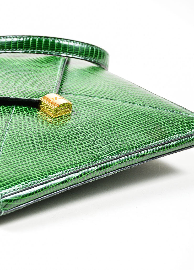 "Green Hermes Lizard Leather ""Marigny"" Envelope Clutch Shoulder Bag Bottom View"
