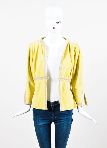Valentino Chartreuse Yellow Suede and Ayers Snakeskin Trimmed Jacket Frontview