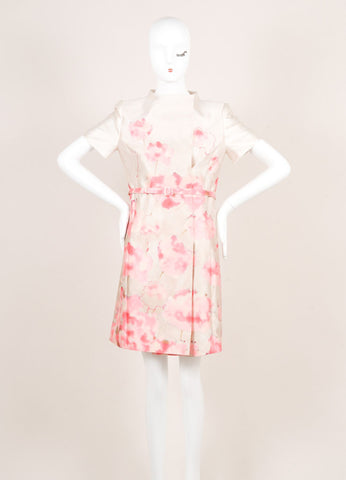 Valentino Cream and Pink Silky Water Color Floral Print Belted Short Sleeve Dress Frontview