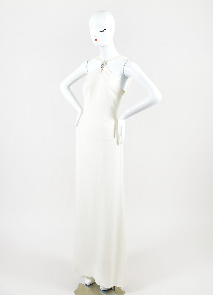Cream Valentino Roma Silky Asymmetrical Shoulder Sleeveless Gown Dress Sideview