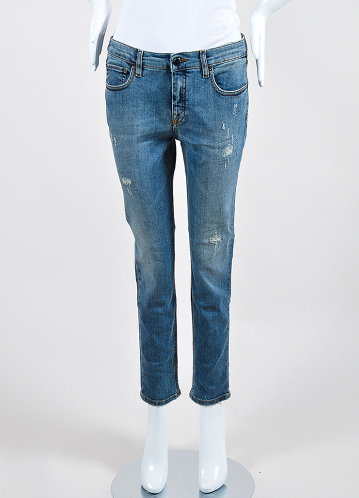 Victoria Beckham Jeans Blue Denim Distressed Skinny Ankle Jeans  Frontview