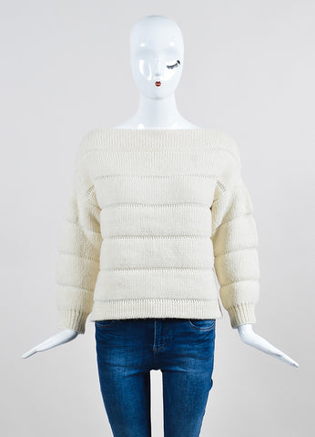 "Vilshenko Ivory Alpaca Wool Silk Ribbed ""Gaby"" Pullover Sweater Front"