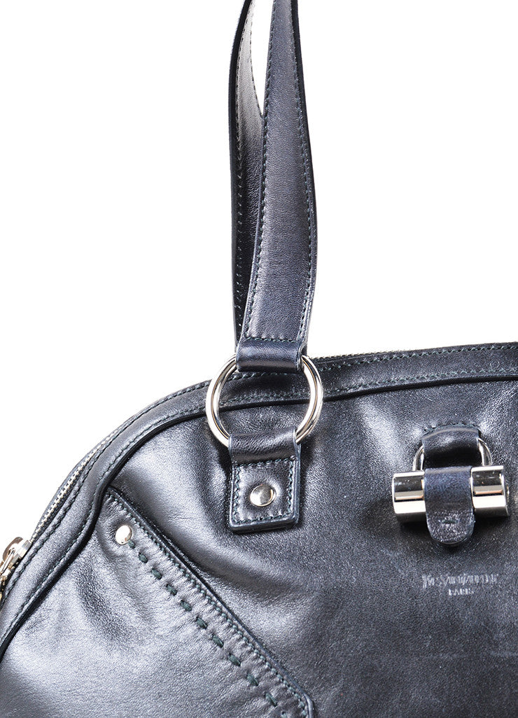 "Yves Saint Laurent Black Leather ""Muse"" Tote Bag Detail 2"