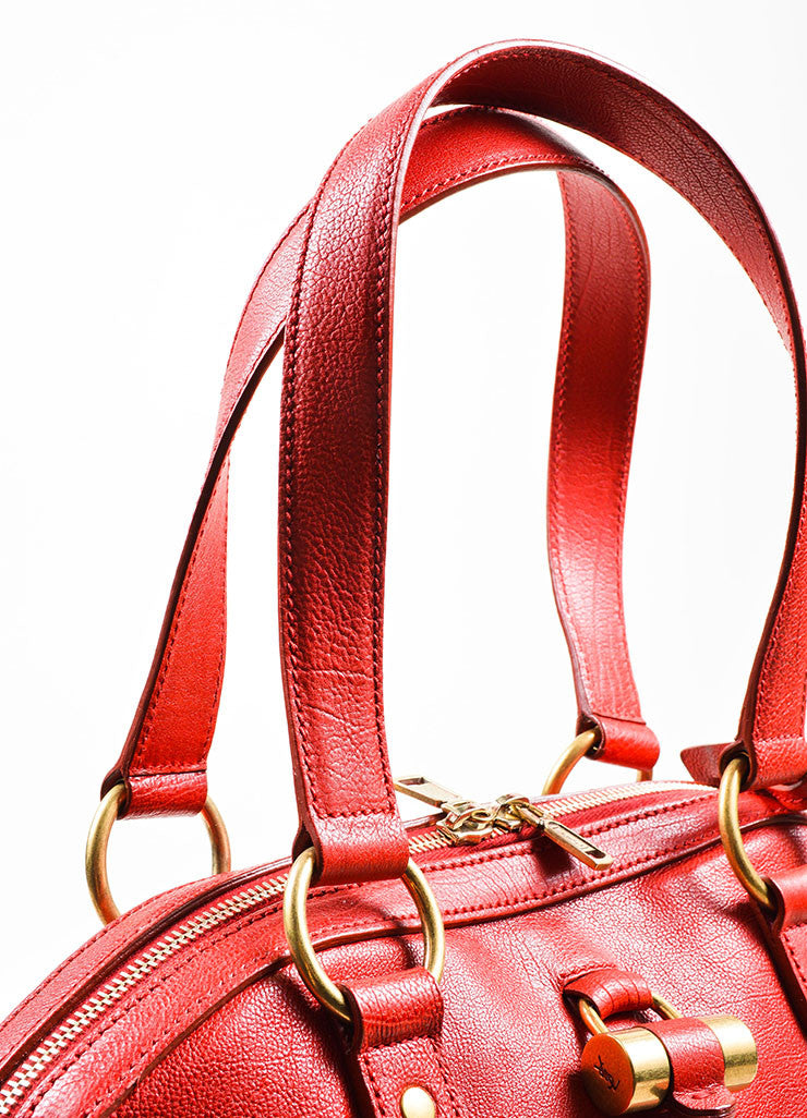 "Red Yves Saint Laurent Leather ""Muse"" Tote Bag Detail 2"