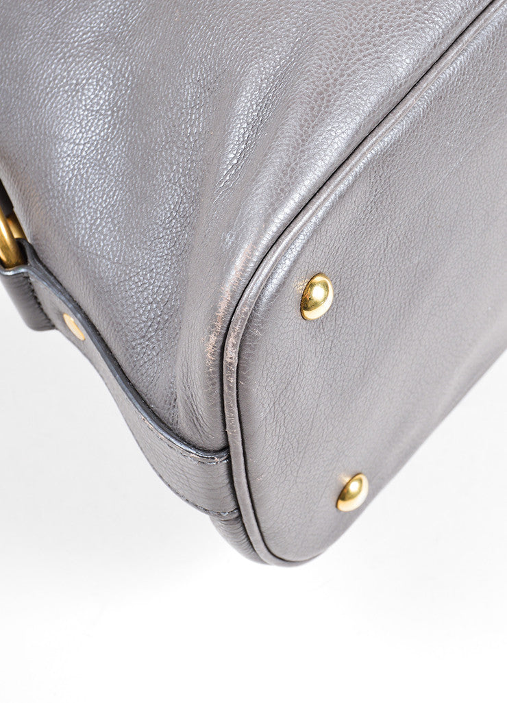 "Yves Saint Laurent Gray Pebbled Leather ""Muse"" Zip Dome Satchel Bag Detail"
